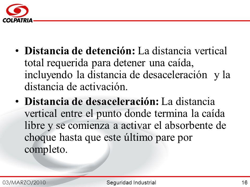 Distancia de detención: La distancia vertical total requerida para detener una caída, incluyendo la distancia de desaceleración y la distancia de activación.