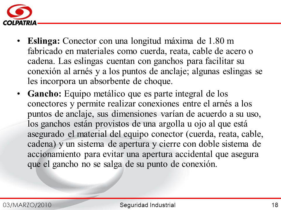 Eslinga: Conector con una longitud máxima de 1
