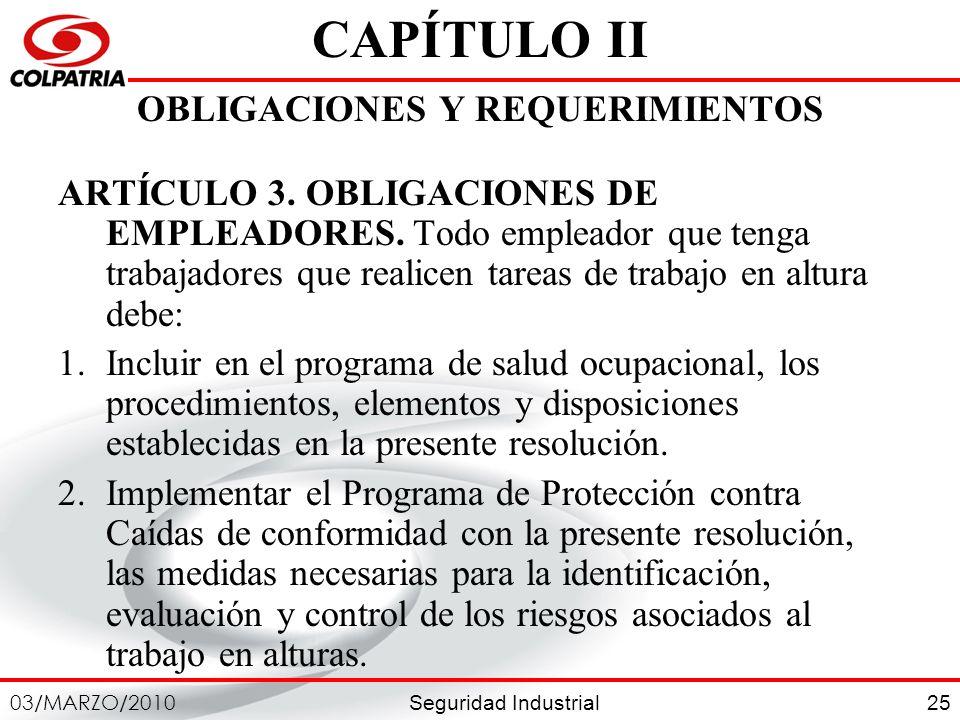 CAPÍTULO II OBLIGACIONES Y REQUERIMIENTOS