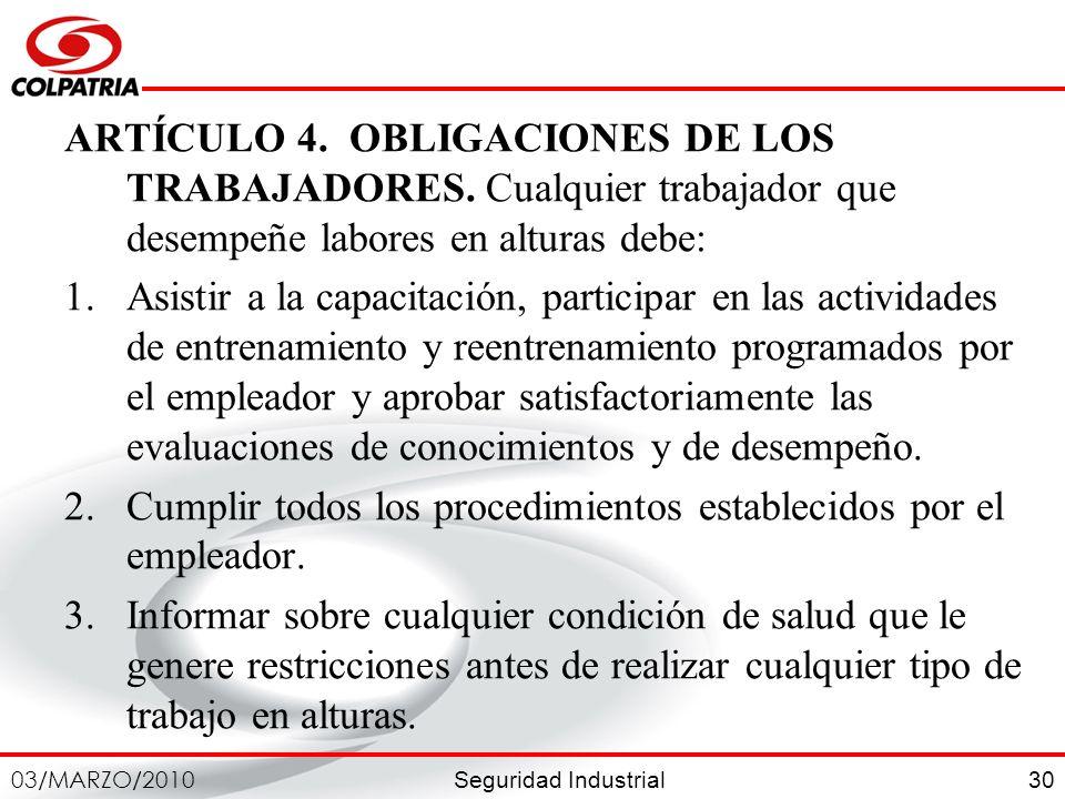 ARTÍCULO 4. OBLIGACIONES DE LOS TRABAJADORES