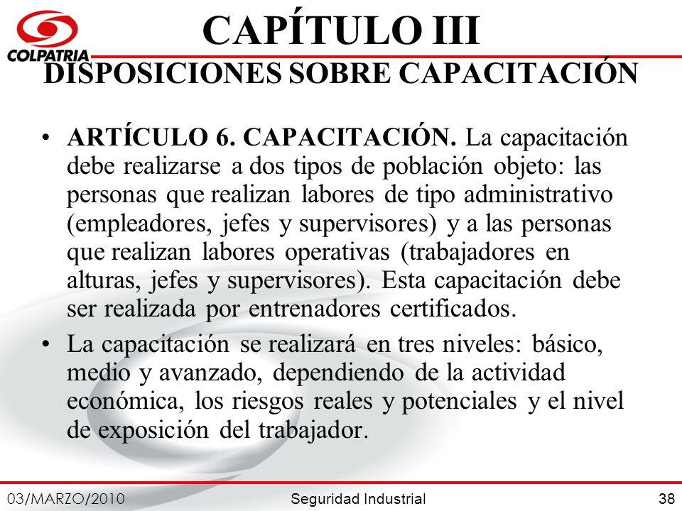 CAPÍTULO III DISPOSICIONES SOBRE CAPACITACIÓN