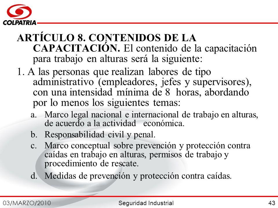 ARTÍCULO 8. CONTENIDOS DE LA CAPACITACIÓN