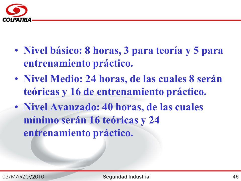Nivel básico: 8 horas, 3 para teoría y 5 para entrenamiento práctico.