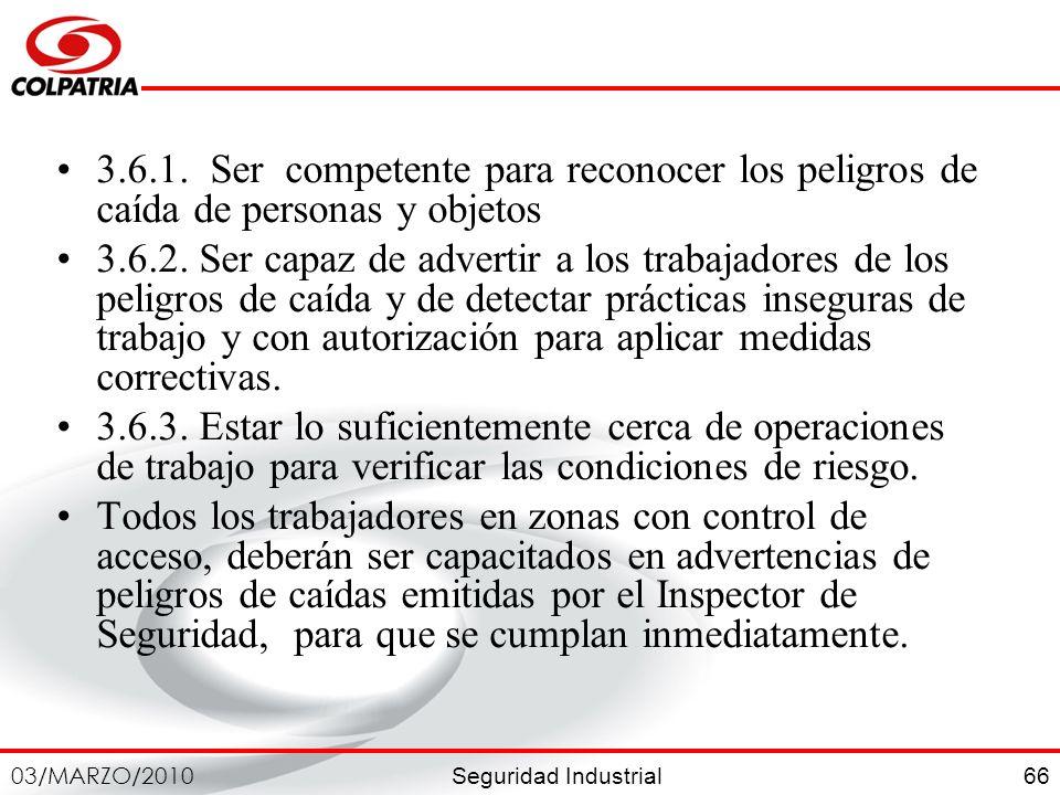 3.6.1. Ser competente para reconocer los peligros de caída de personas y objetos
