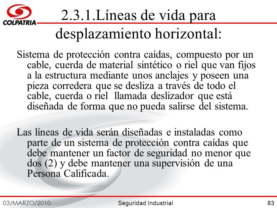 2.3.1.Líneas de vida para desplazamiento horizontal:
