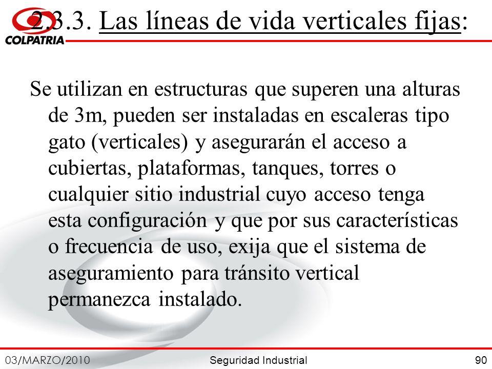 2.3.3. Las líneas de vida verticales fijas: