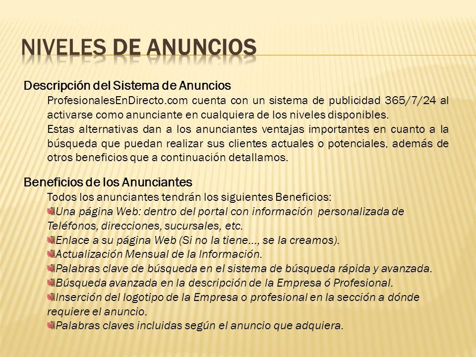 NIVELES DE ANUNCIOS Descripción del Sistema de Anuncios