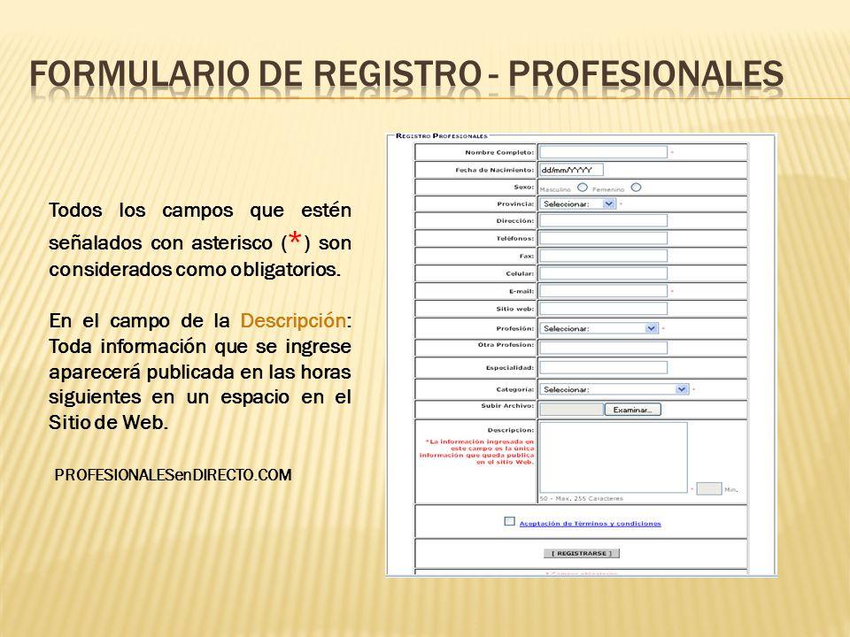 Formulario de registro - profesionales