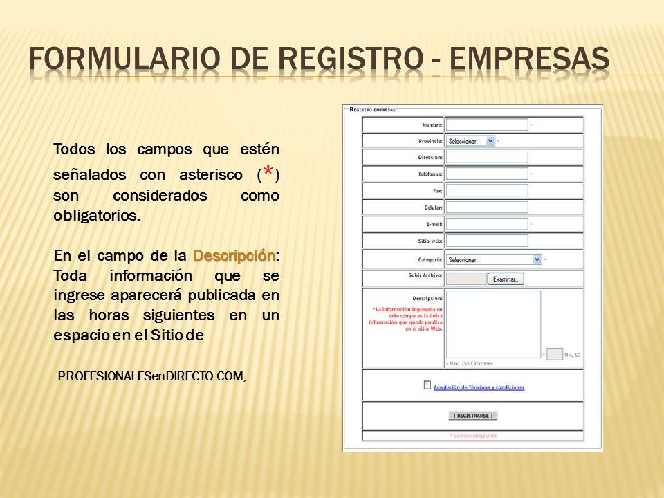 Formulario de registro - empresas