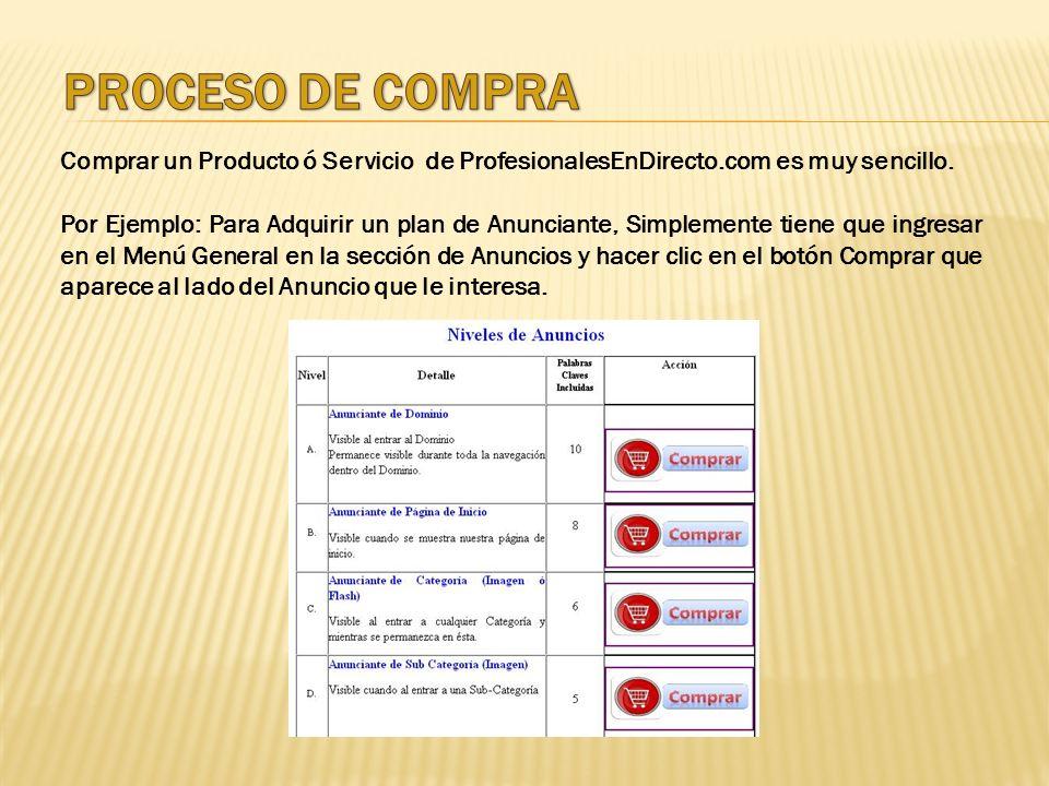 PROCESO DE COMPRA Comprar un Producto ó Servicio de ProfesionalesEnDirecto.com es muy sencillo.