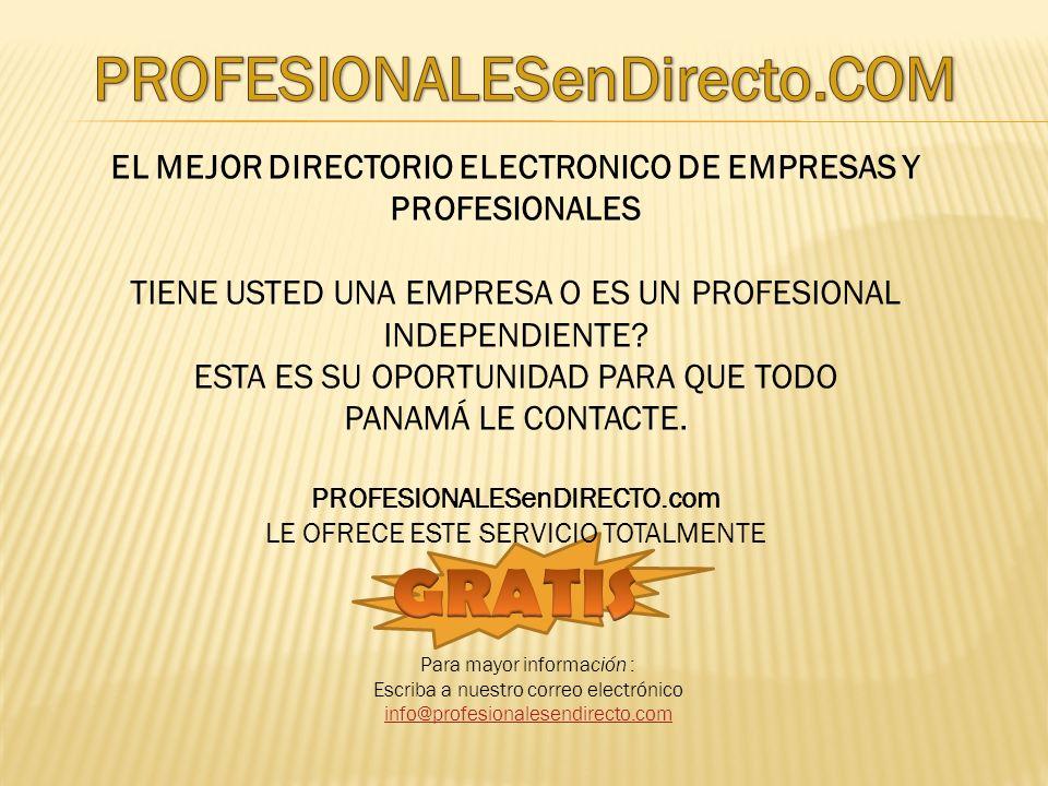 EL MEJOR DIRECTORIO ELECTRONICO DE EMPRESAS Y PROFESIONALES