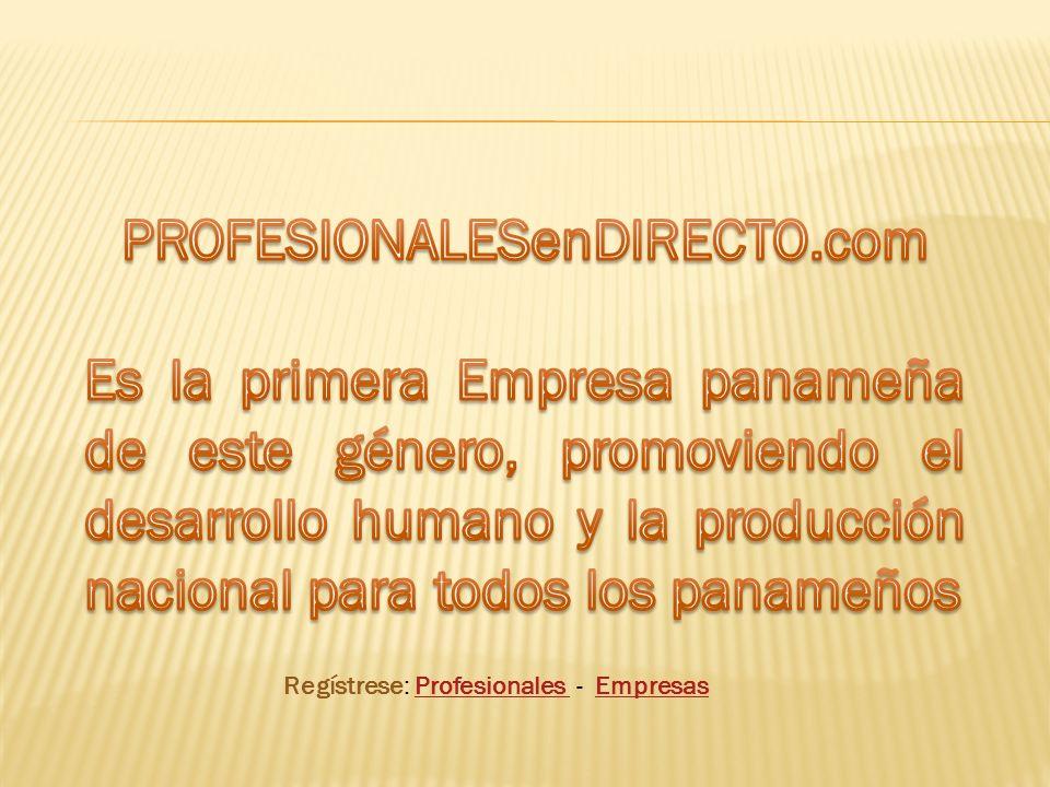 Regístrese: Profesionales - Empresas