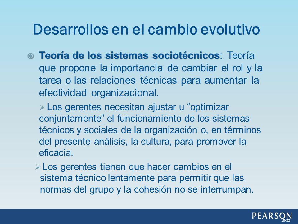 Desarrollos en el cambio evolutivo