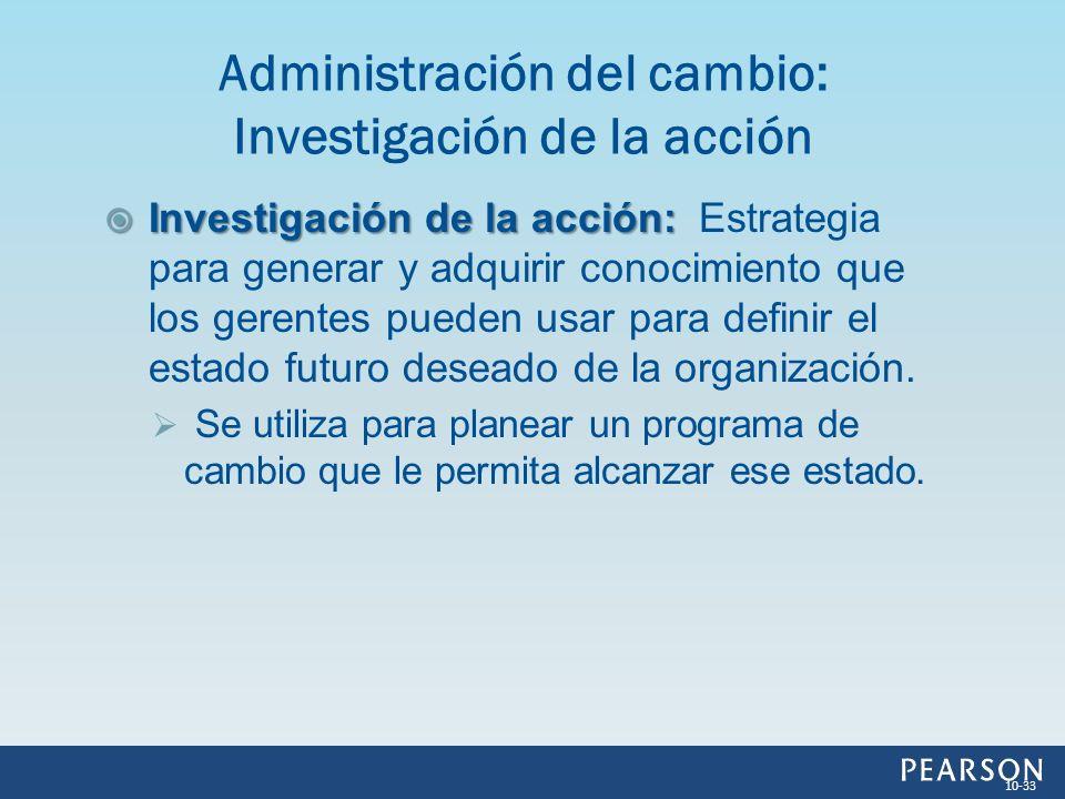 Administración del cambio: Investigación de la acción