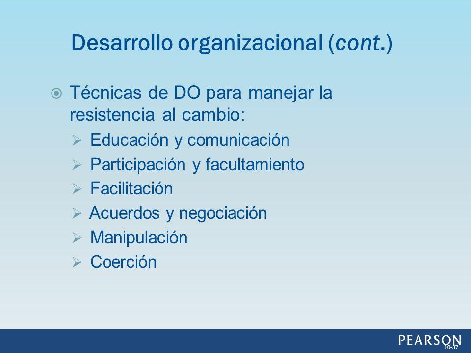 Desarrollo organizacional (cont.)