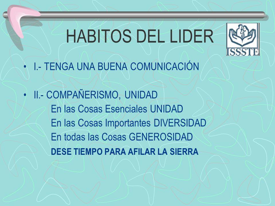 HABITOS DEL LIDER I.- TENGA UNA BUENA COMUNICACIÓN