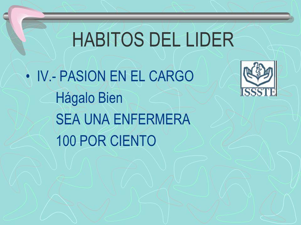 HABITOS DEL LIDER IV.- PASION EN EL CARGO Hágalo Bien