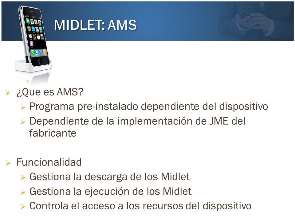 MIDLET: AMS ¿Que es AMS Programa pre-instalado dependiente del dispositivo. Dependiente de la implementación de JME del fabricante.