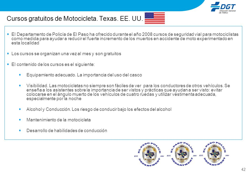 Cursos gratuitos de Motocicleta. Texas. EE. UU.