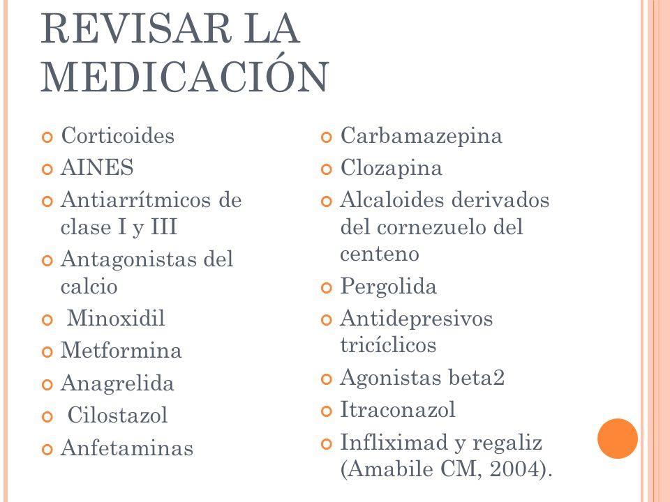 REVISAR LA MEDICACIÓN Corticoides AINES