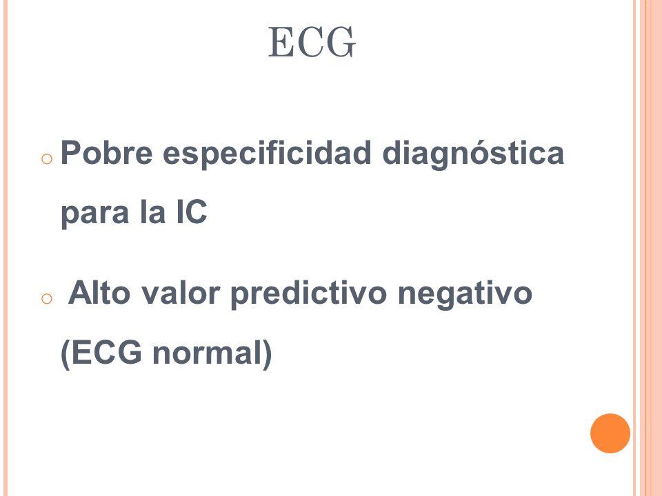 ECG Pobre especificidad diagnóstica para la IC