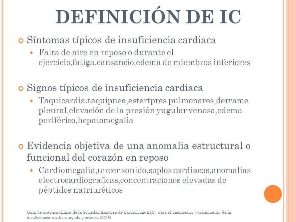 DEFINICIÓN DE IC Síntomas típicos de insuficiencia cardiaca