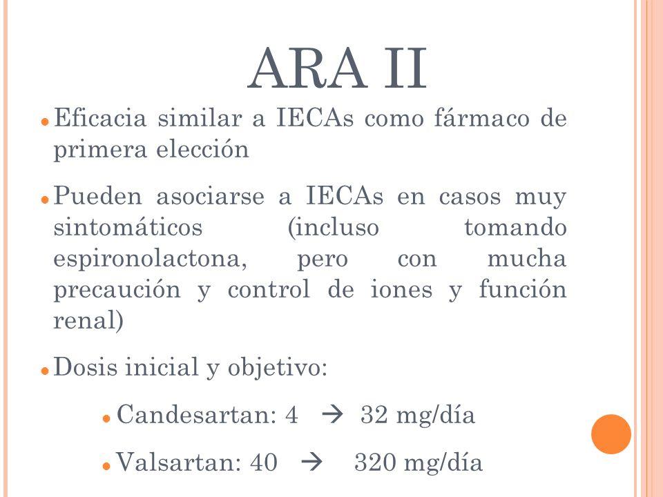 ARA II Eficacia similar a IECAs como fármaco de primera elección