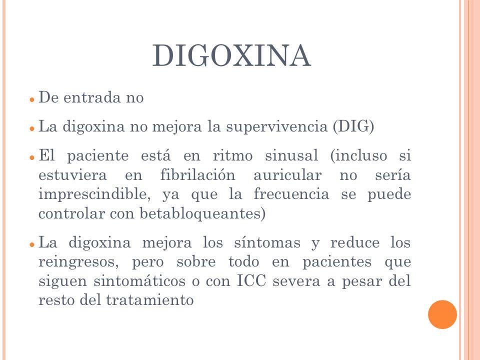DIGOXINA De entrada no La digoxina no mejora la supervivencia (DIG)