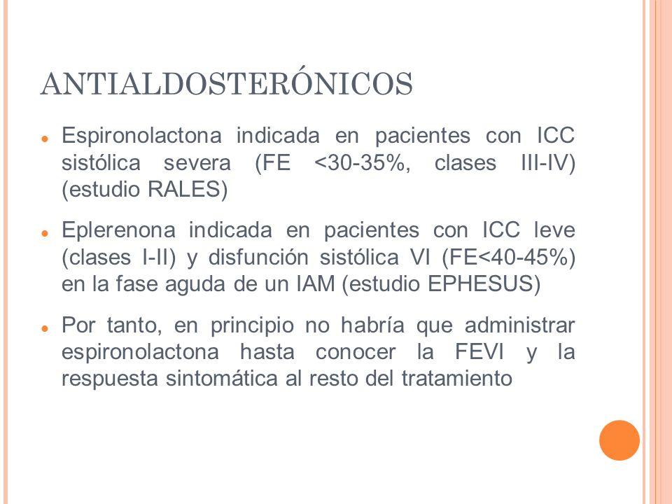 ANTIALDOSTERÓNICOS Espironolactona indicada en pacientes con ICC sistólica severa (FE <30-35%, clases III-IV) (estudio RALES)