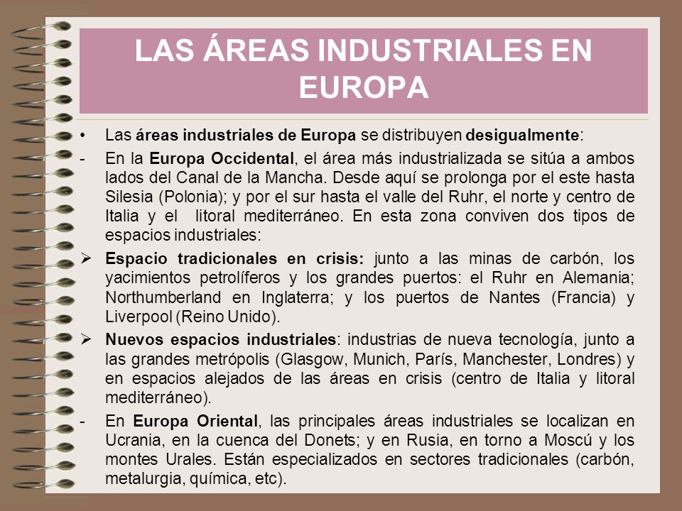 LAS ÁREAS INDUSTRIALES EN EUROPA