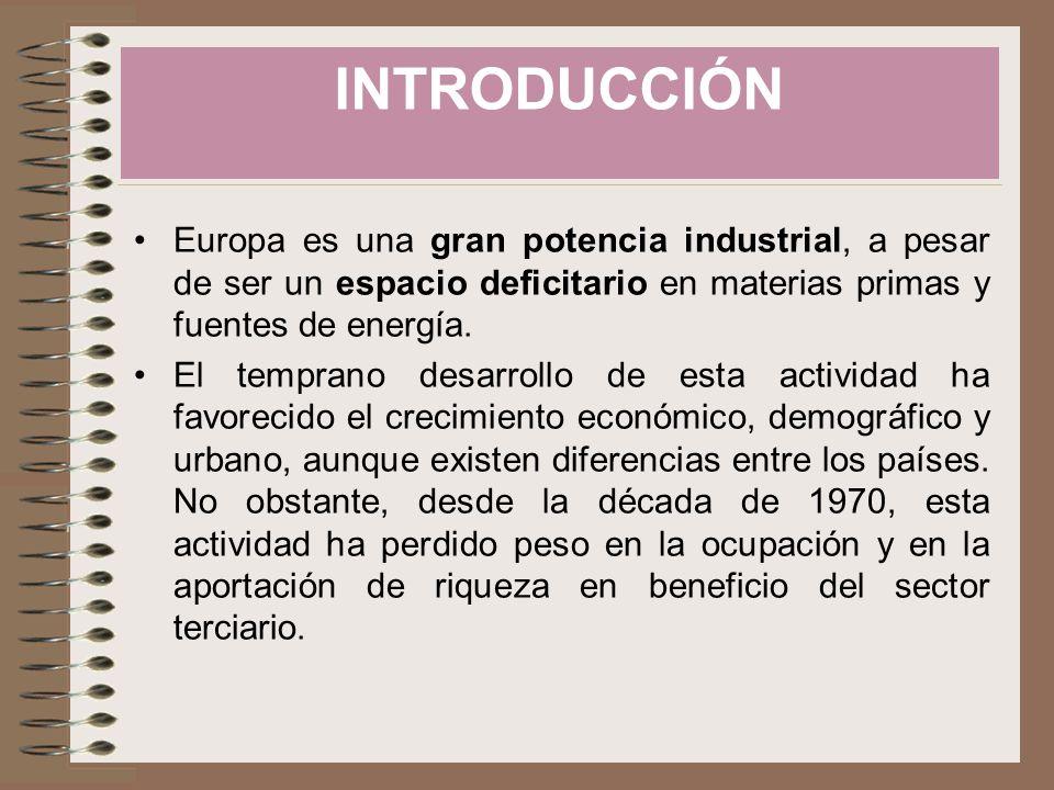 INTRODUCCIÓN Europa es una gran potencia industrial, a pesar de ser un espacio deficitario en materias primas y fuentes de energía.
