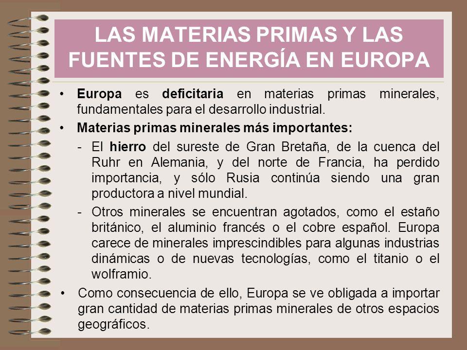 LAS MATERIAS PRIMAS Y LAS FUENTES DE ENERGÍA EN EUROPA