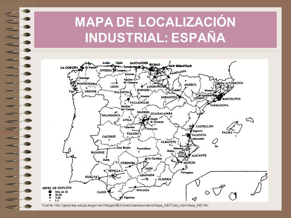 MAPA DE LOCALIZACIÓN INDUSTRIAL: ESPAÑA
