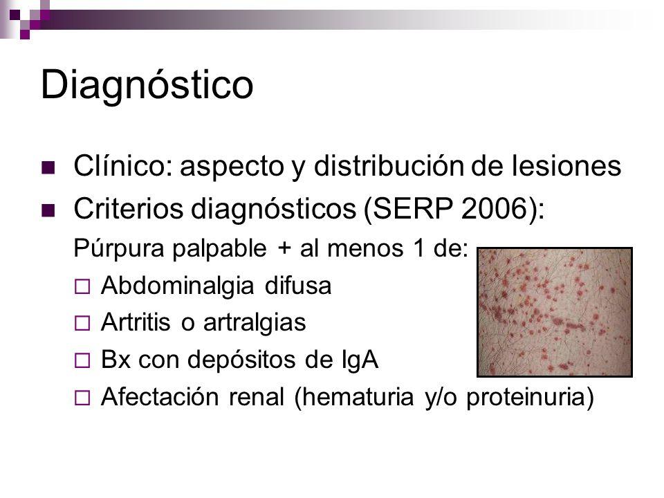 Diagnóstico Clínico: aspecto y distribución de lesiones