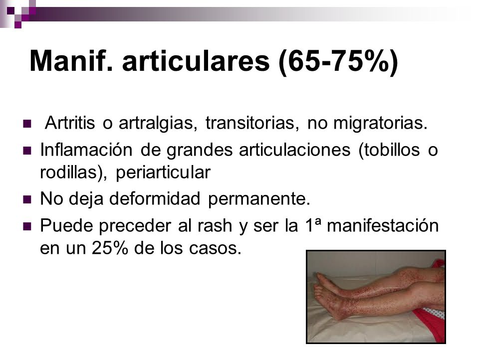 Manif. articulares (65-75%)