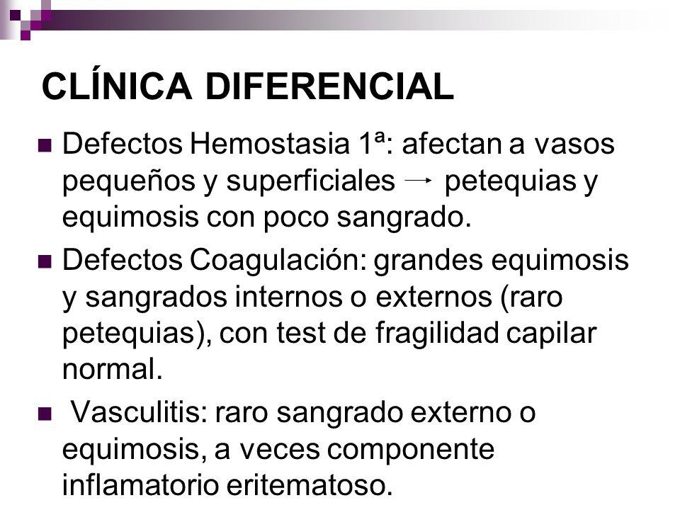 CLÍNICA DIFERENCIAL Defectos Hemostasia 1ª: afectan a vasos pequeños y superficiales petequias y equimosis con poco sangrado.