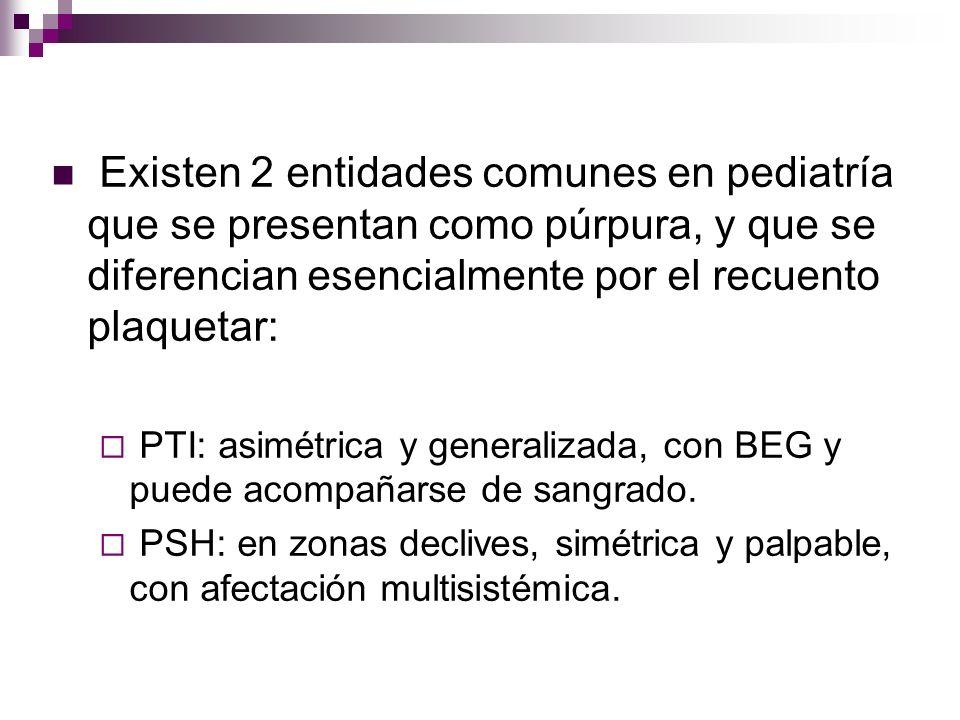 Existen 2 entidades comunes en pediatría que se presentan como púrpura, y que se diferencian esencialmente por el recuento plaquetar: