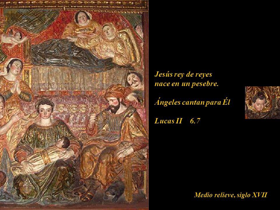 Jesús rey de reyes nace en un pesebre. Ángeles cantan para Él