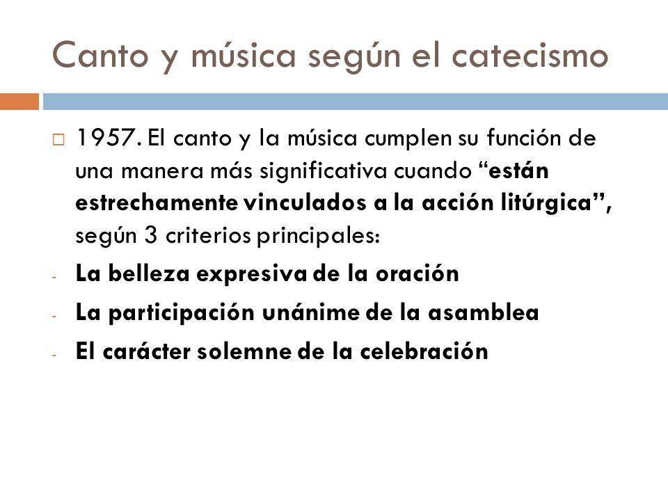 Canto y música según el catecismo