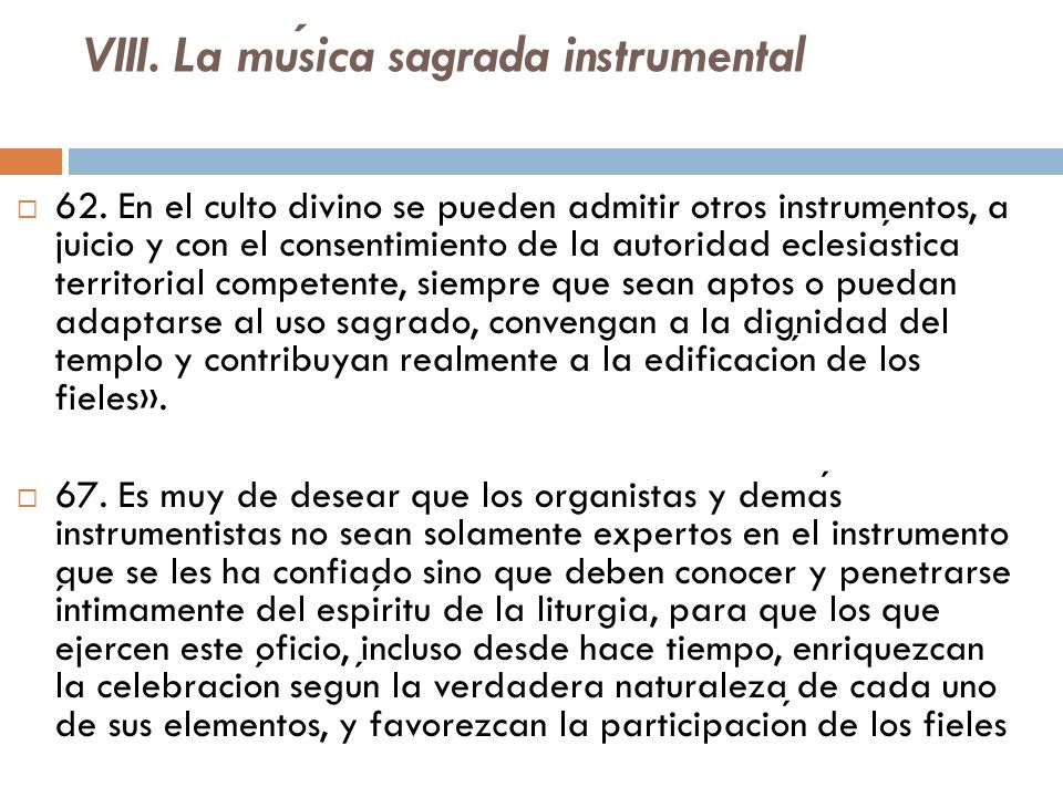 VIII. La música sagrada instrumental