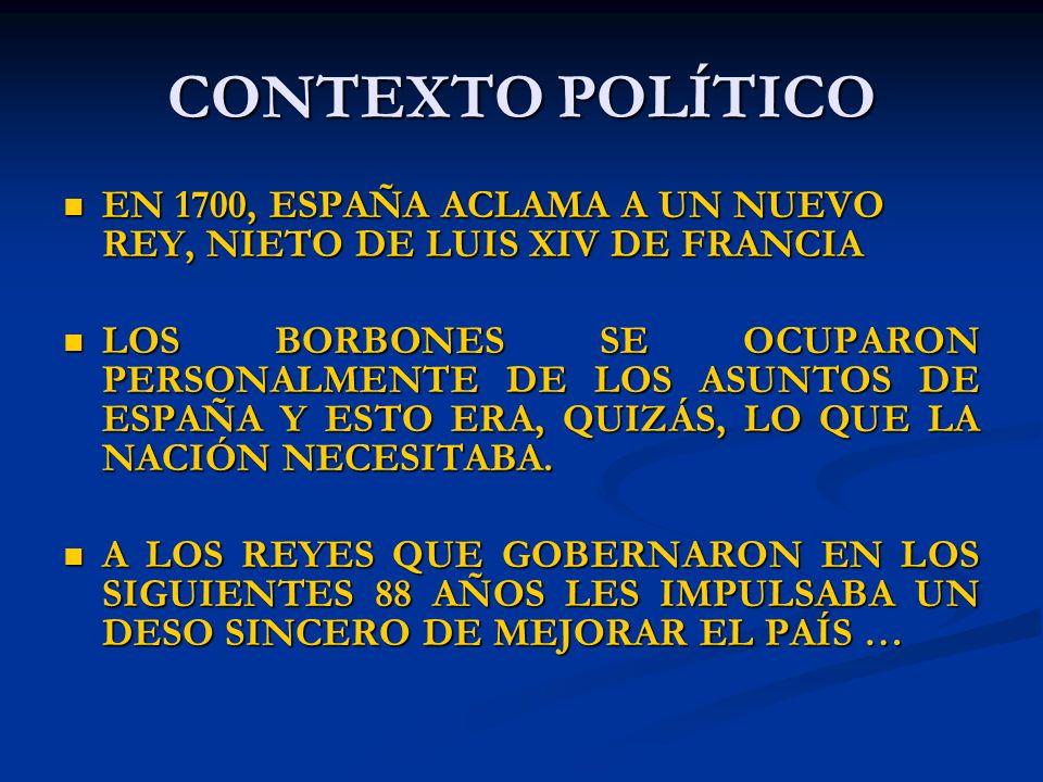 CONTEXTO POLÍTICO EN 1700, ESPAÑA ACLAMA A UN NUEVO REY, NIETO DE LUIS XIV DE FRANCIA.