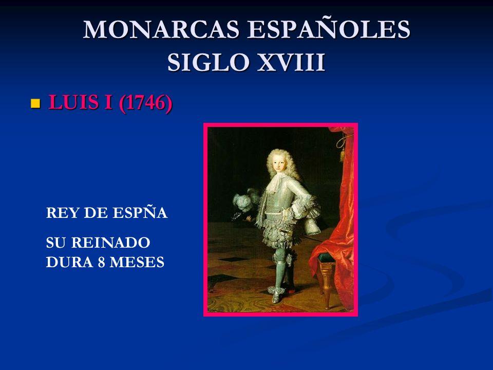 MONARCAS ESPAÑOLES SIGLO XVIII