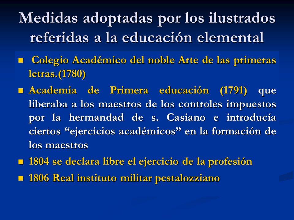Medidas adoptadas por los ilustrados referidas a la educación elemental