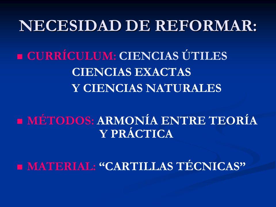 NECESIDAD DE REFORMAR:
