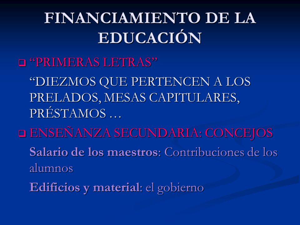 FINANCIAMIENTO DE LA EDUCACIÓN