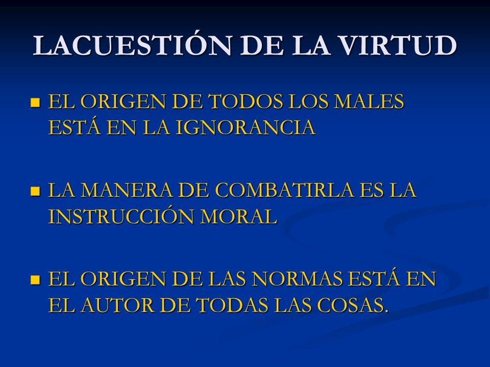 LACUESTIÓN DE LA VIRTUD