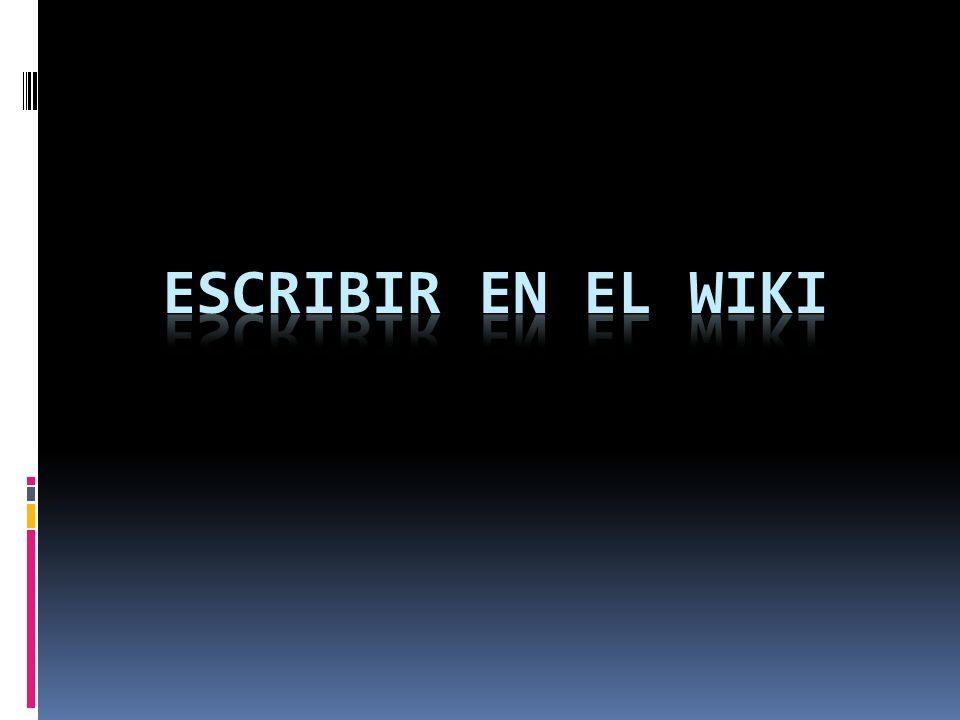 Escribir en el wiki