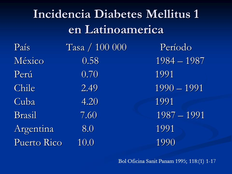 Incidencia Diabetes Mellitus 1 en Latinoamerica