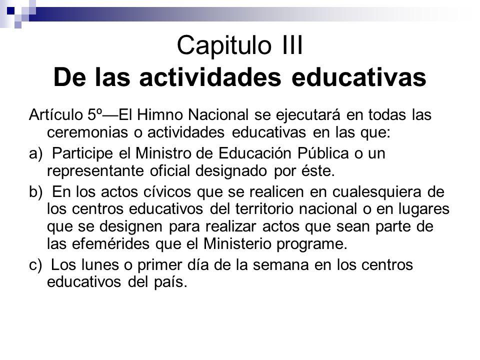 Capitulo III De las actividades educativas