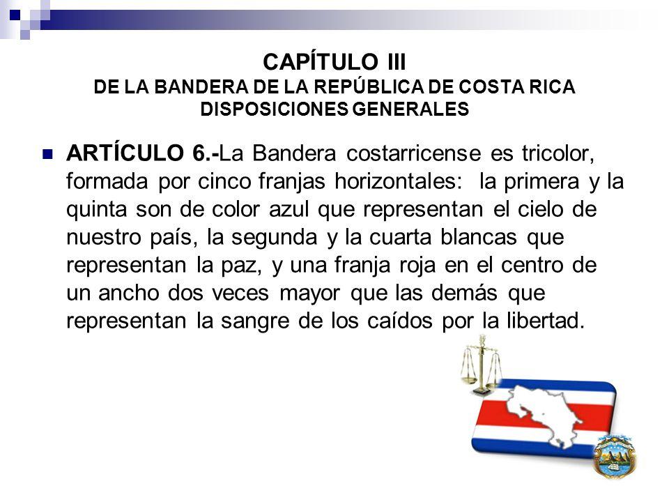 CAPÍTULO III DE LA BANDERA DE LA REPÚBLICA DE COSTA RICA DISPOSICIONES GENERALES